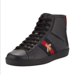Gucci Boys Ace Bee High Tip Sneaker Black 31/13US